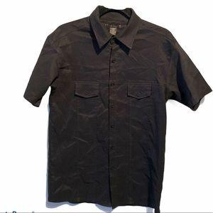 Buffalo Button Up Short Sleeve Black Stretch Small